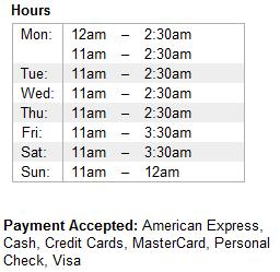 Hours of Operations, Payment MethodsAccepted