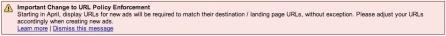 AdWords Display URL Must Match Destination URL
