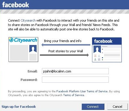 Facebook and CitySearch