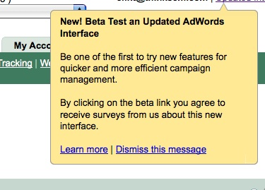 Updated AdWords Interface