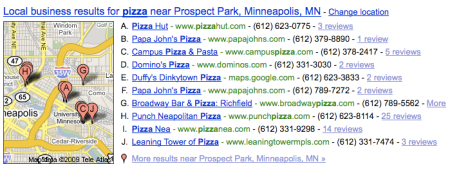 Prospect Park Areas for Pizza
