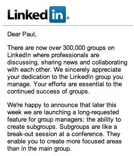 LinkedIn Subgroups